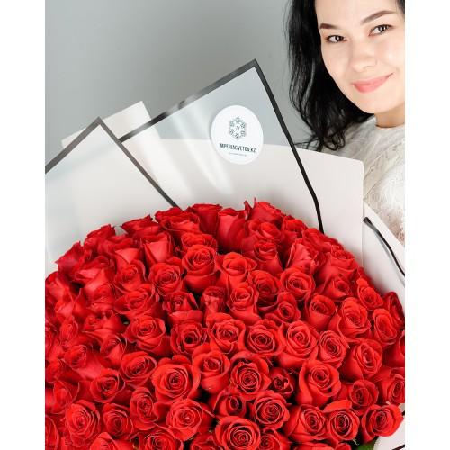 Купить на заказ Букет из 101 красной розы с доставкой в Каратау